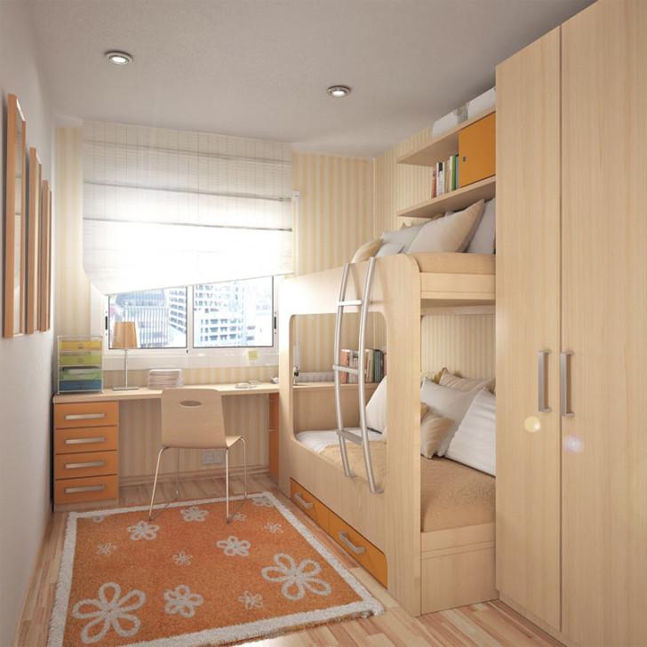 Дизайн узкой длинной детской комнаты для девочки, мальчика или двух детей: фото интерьера