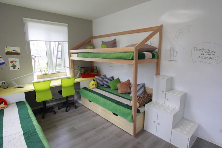 Дизайн интерьера детской комнаты для троих детей разного возраста: фото и варианты планировки